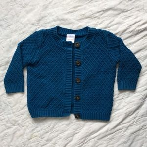 Hanna Andersson teal sweater cardigan size 80